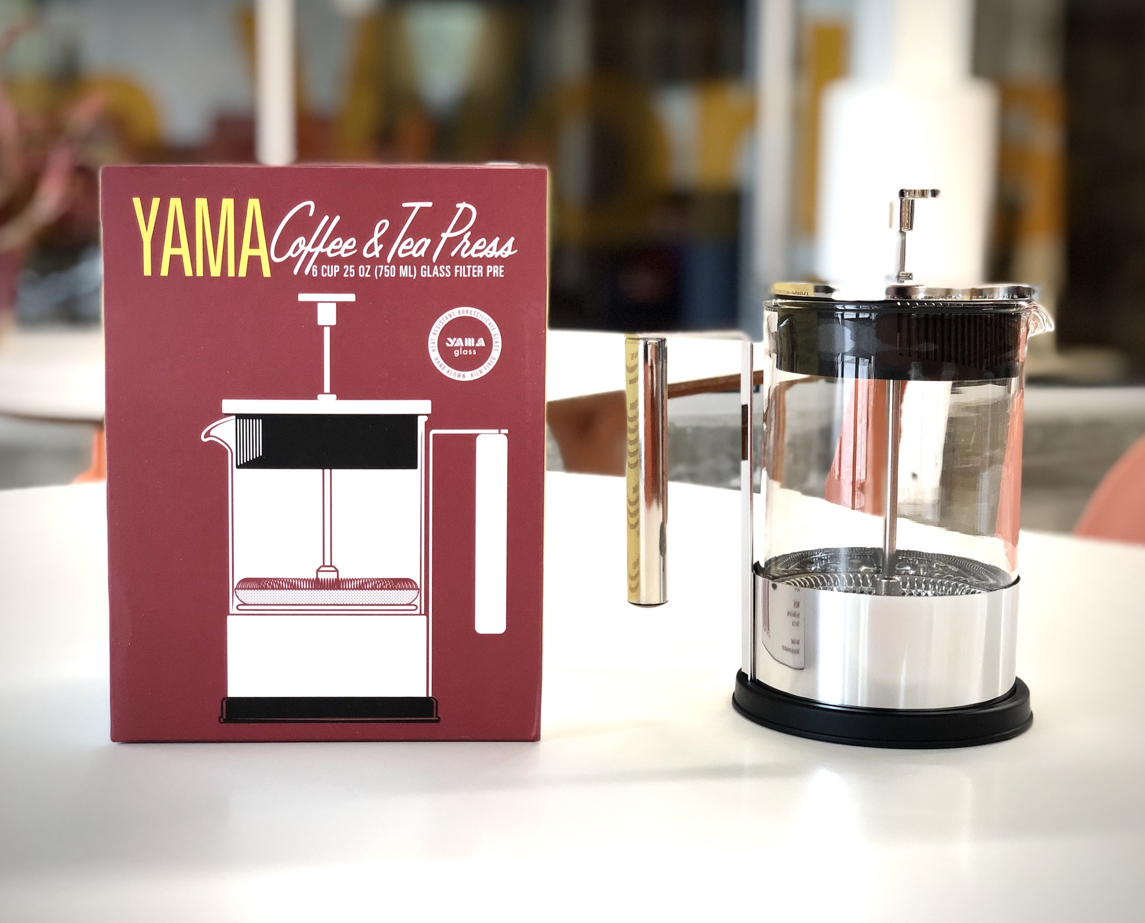 Yama Glass 6 Cup French Press - Coffee and Tea Maker