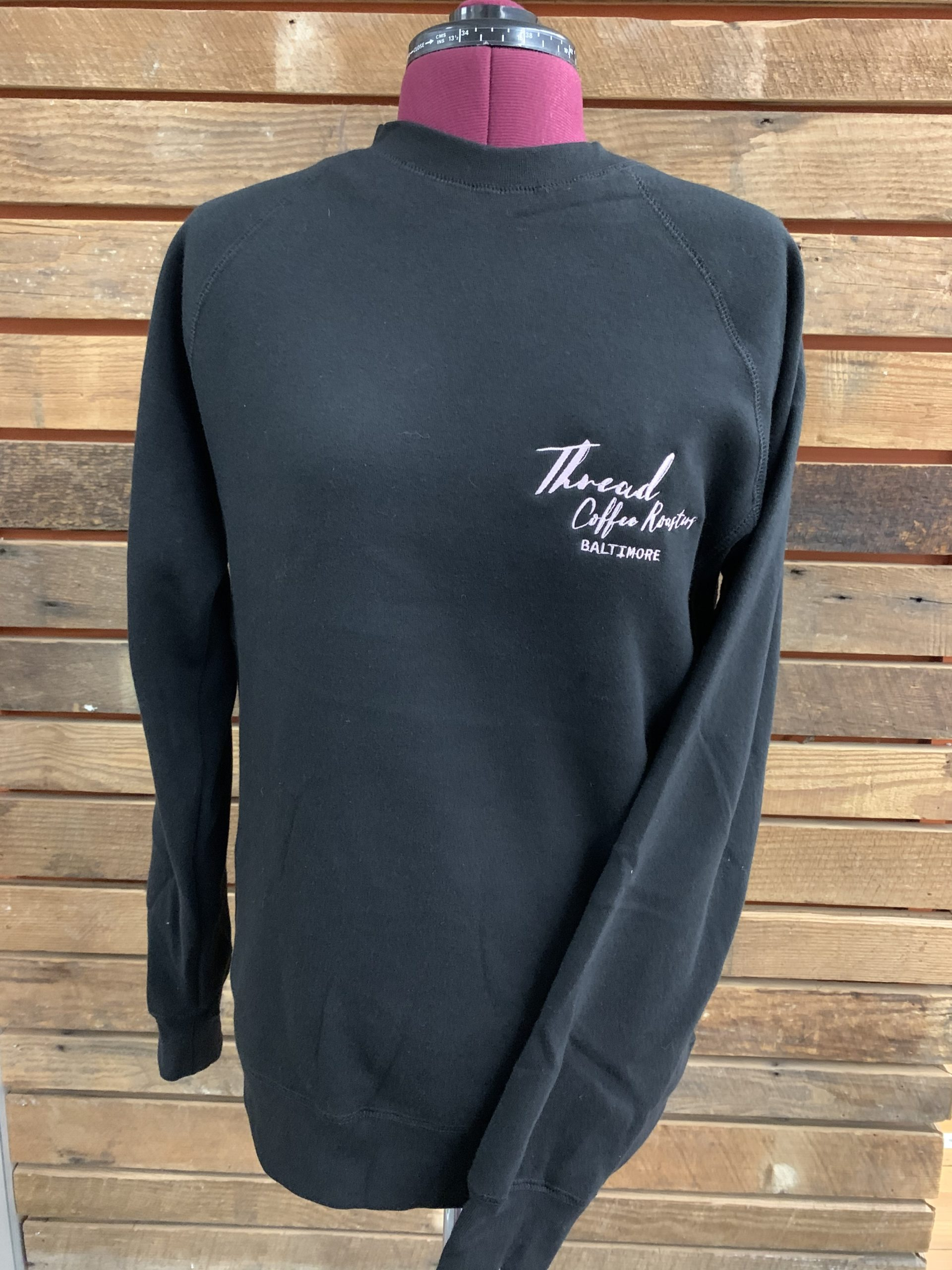 Thread Coffee Roasters - Soft Black and Pink Embroidered Crew Neck Sweatshirt